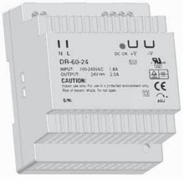 DR-60 Series DIN Rail Mounted Power Supply - 24vDC at 60 Watts