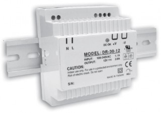 DR-30 Series DIN Rail Mounted Power Supply - 12vDC at 24 Watts