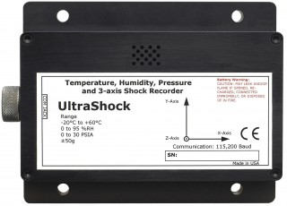 UltraShock Temperature, Humidity, Pressure and Tri-Axial Shock Data Logger