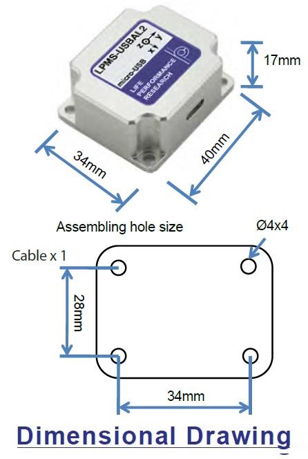 LPMS-USBAL2 Dimensional Drawing