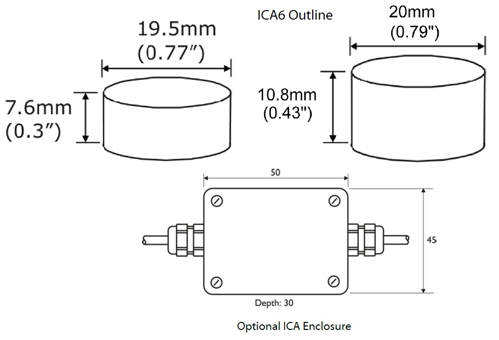 ICA Amplifier Dimensional Drawings