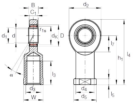 Rod End Bearings Female Thread Diagram