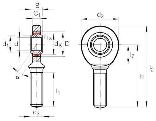 Rod End Bearings Male Thread Diagram