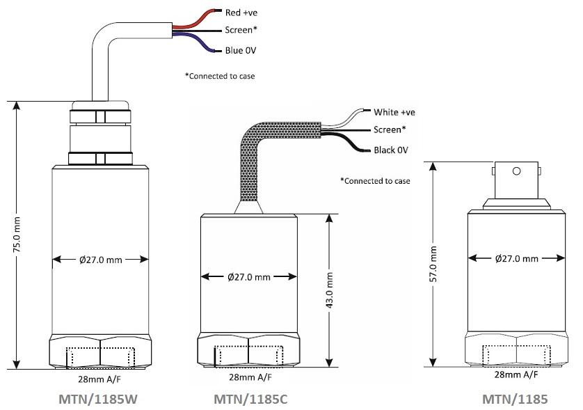 MTN/1185 Dimensional Drawings