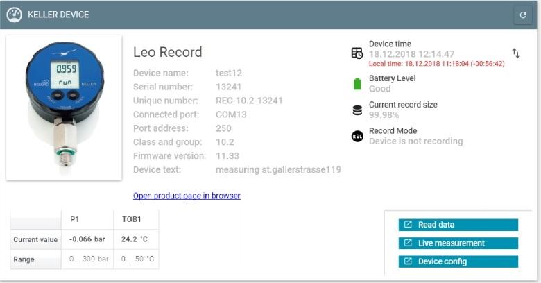 Keller LEO Record Pressure Data Logger